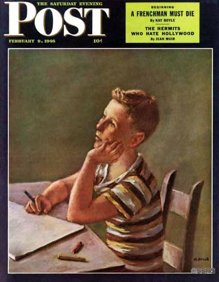 Alexander Brook Saturday Evening Post Future Author 1946_02_09 | The Saturday Evening Post Graphic Art Covers 1931-1969