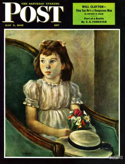 Alexander Brook Saturday Evening Post Portrait of Little Girl 1945_05_05 | The Saturday Evening Post Graphic Art Covers 1931-1969