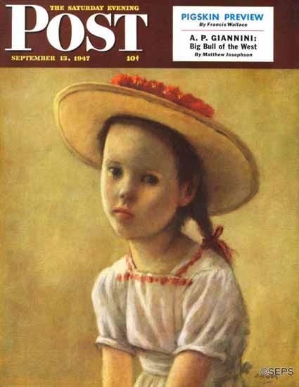 Alexander Brook Saturday Evening Post Portrait of a Little Girl 1947_09_13 | The Saturday Evening Post Graphic Art Covers 1931-1969