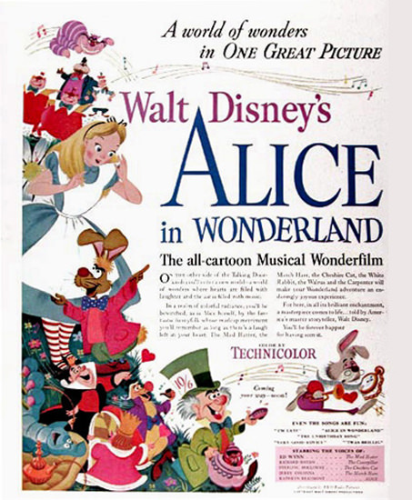 Alice In Wonderland Walt Disney Movie 1951 | Vintage Ad and Cover Art 1891-1970