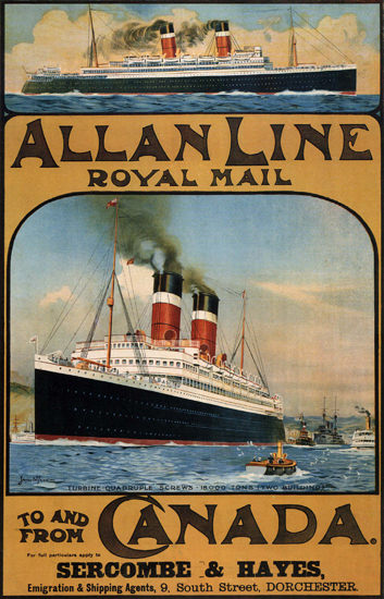 Allan Line Royal Mail Sercombe Hayes Dorchester 1913 | Vintage Travel Posters 1891-1970