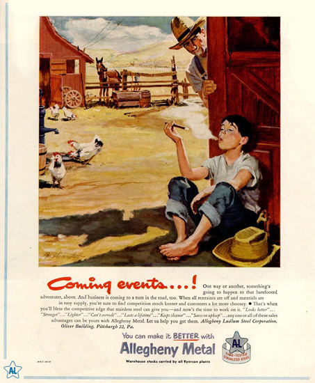 Allegheny Metal Smoking Kid Coming Events | Vintage Ad and Cover Art 1891-1970