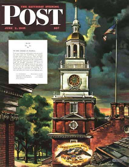 Allen Saalburg Saturday Evening Post Independence Hall 1945_06_02   The Saturday Evening Post Graphic Art Covers 1931-1969