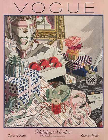 Allen Saalburg Vogue Cover 1926-12-15 Copyright | Vogue Magazine Graphic Art Covers 1902-1958