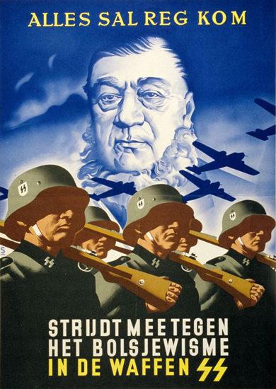 Alles Sal Reg Kom Bolsjewisme In De Waffen SS   Vintage War Propaganda Posters 1891-1970