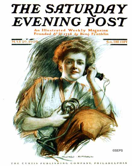Alonzo Myron Kimball Saturday Evening Post The Phone Call 1909_05_29 | The Saturday Evening Post Graphic Art Covers 1892-1930