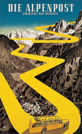 Alpenpost Switzerland 1940s Herbert Libiszewski   Vintage Travel Posters 1891-1970