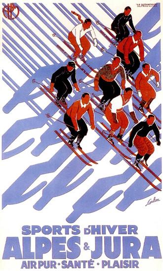 Alps Et Jura Sports D Hiver 1933 Skiers Coulon | Vintage Travel Posters 1891-1970