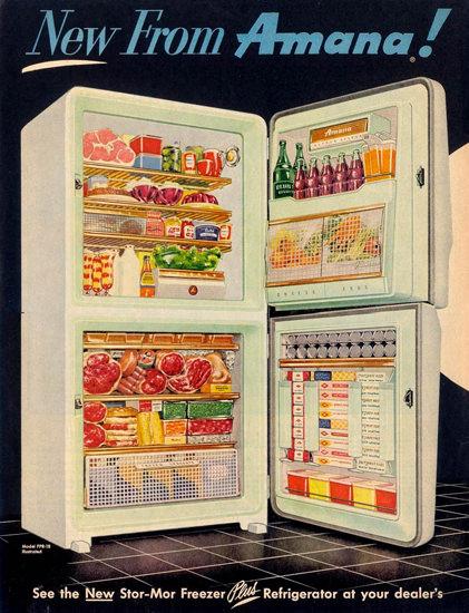 Amana Refrigerator Freezer Fridge 1955 | Vintage Ad and Cover Art 1891-1970