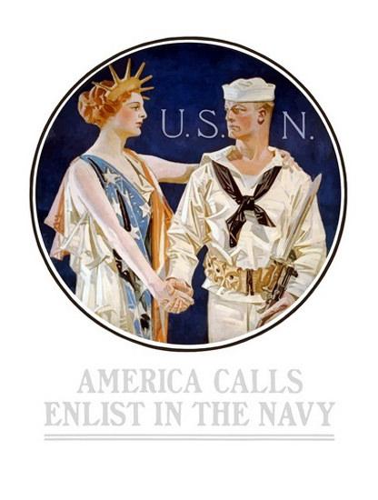 America Calls Enlist The Navy Liberty USN Sailor | Vintage War Propaganda Posters 1891-1970