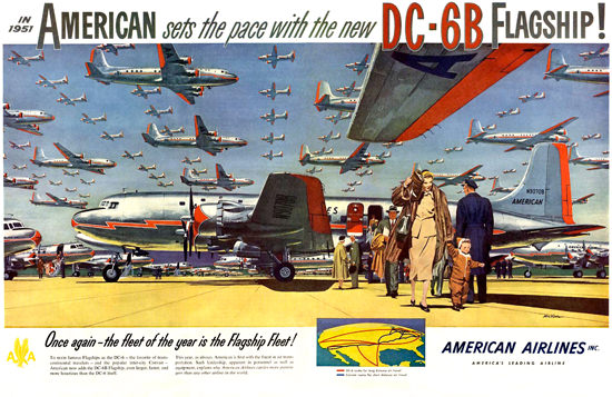 American Airlines 1951 DC-6B Sets Pace Flagship | Vintage Travel Posters 1891-1970