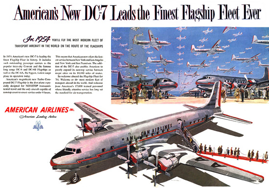 American Airlines 1954 DC-7 First Flagship Fleet | Vintage Travel Posters 1891-1970