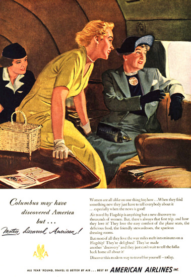 American Airlines Columbus Discoverd First Class 1949 | Vintage Travel Posters 1891-1970