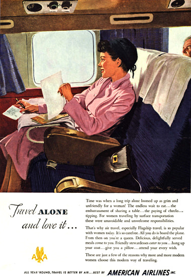 American Airlines Girl Travel Alone And Love It | Vintage Travel Posters 1891-1970