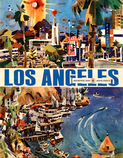 American Airlines Los Angeles 1970 | Vintage Travel Posters 1891-1970