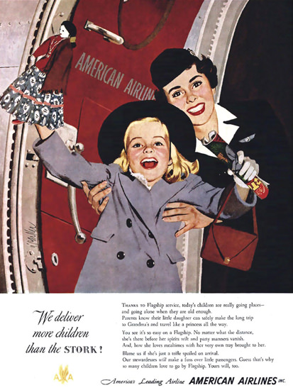 American Airlines More Children Than The Stork | Vintage Travel Posters 1891-1970