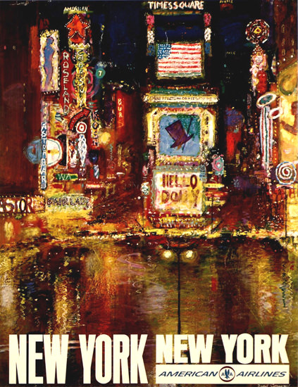 American Airlines New York 1960s Times Square | Vintage Travel Posters 1891-1970