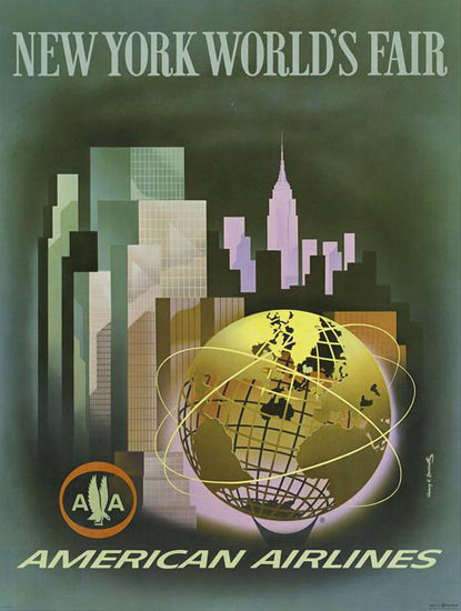 American Airlines New York Worlds Fair Skyline | Vintage Travel Posters 1891-1970