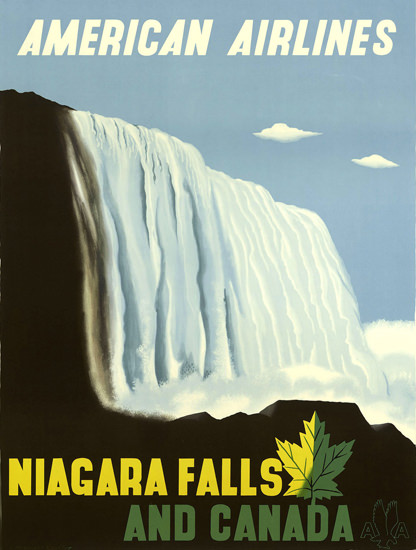 American Airlines Niagara Falls Canada 1948 | Vintage Travel Posters 1891-1970
