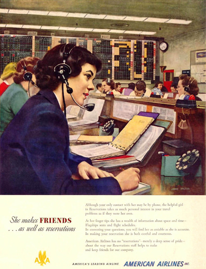 American Airlines She Makes Friends 1950 | Vintage Ad and Cover Art 1891-1970