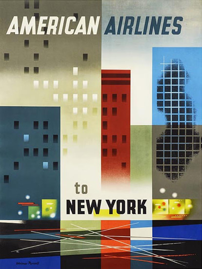 American Airlines To New York   Vintage Travel Posters 1891-1970