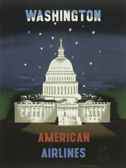 American Airlines Washington White House | Vintage Travel Posters 1891-1970
