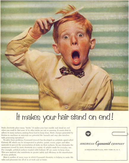 American Cyanamid Co Hair Stands On End 1955 | Vintage Ad and Cover Art 1891-1970
