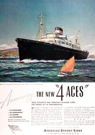 American Export Lines 1948 4 Aces Ocean Liner | Vintage Travel Posters 1891-1970
