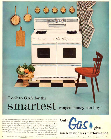 American Gas Ass Automatic Cooking 1954   Vintage Ad and Cover Art 1891-1970