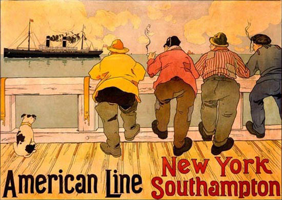 American Line New York To Southampton | Vintage Travel Posters 1891-1970