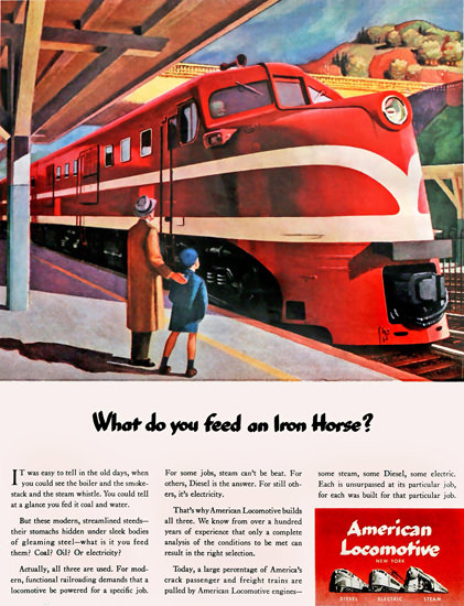 American Locomotive 1944 Feed An Iron Horse by Edward Hopper | Vintage Travel Posters 1891-1970