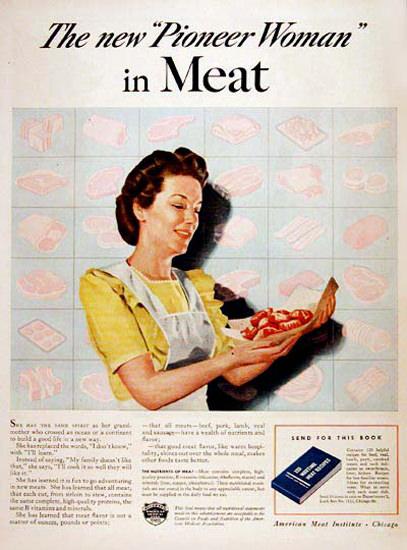 American Meat Institute 1943 Pioneer Woman | Vintage War Propaganda Posters 1891-1970