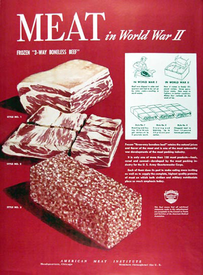 American Meat Institute 1945 Meat In WW 2 | Vintage War Propaganda Posters 1891-1970