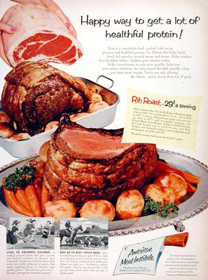 American Meat Institute 1956 Rib Roast | Vintage Ad and Cover Art 1891-1970