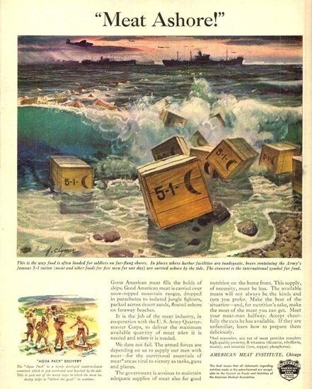 American Meat Institute 5-1 Ration 1943 Ashore | Vintage War Propaganda Posters 1891-1970