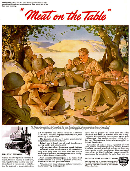 American Meat Institute 5-1 Ration 1943 Table | Vintage War Propaganda Posters 1891-1970
