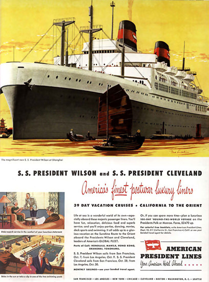 American President Lines 1948 Wilson Cleveland | Vintage Travel Posters 1891-1970