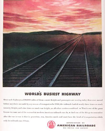American Railroads 1945 Worlds Busiest Highway | Vintage Travel Posters 1891-1970