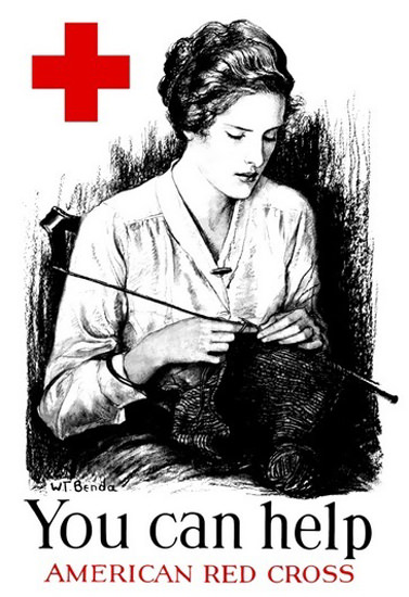 American Red Cross Can Help Woman Knitting | Vintage War Propaganda Posters 1891-1970