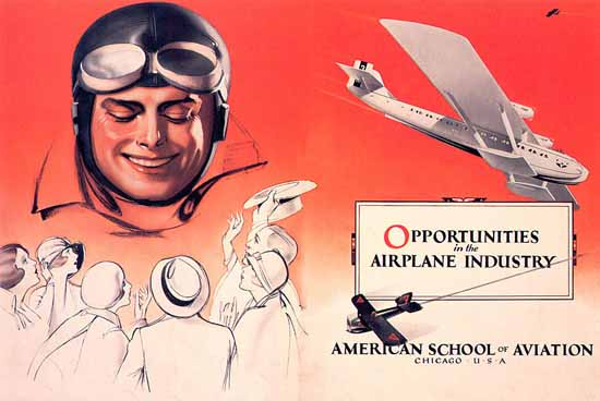American School of Aviation Chicago | Vintage Ad and Cover Art 1891-1970
