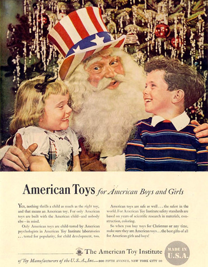 American Toy Institute Santa 1948   Vintage Ad and Cover Art 1891-1970