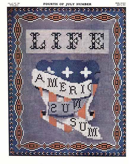 Americanus Sum Life Humor Magazine 1909-07-01 Copyright   Life Magazine Graphic Art Covers 1891-1936