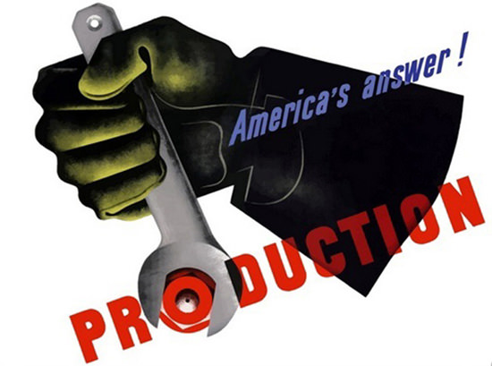 Americas Answer Production Tool Glove | Vintage War Propaganda Posters 1891-1970