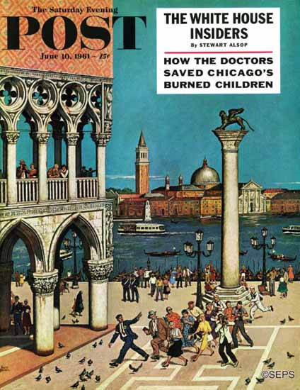Amos Sewell Saturday Evening Post Americans in Venice 1961_06_10 | The Saturday Evening Post Graphic Art Covers 1931-1969