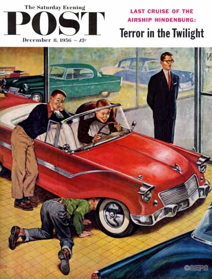 Amos Sewell Saturday Evening Post Automobile Showroom 1956_12_08 | The Saturday Evening Post Graphic Art Covers 1931-1969
