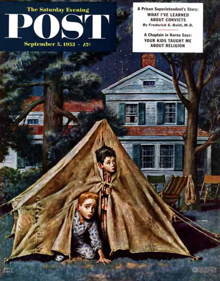 Amos Sewell Saturday Evening Post Backyard Campers 1953_09_05   The Saturday Evening Post Graphic Art Covers 1931-1969
