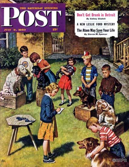 Amos Sewell Saturday Evening Post Backyard Dog Show 1950_07_08 | The Saturday Evening Post Graphic Art Covers 1931-1969