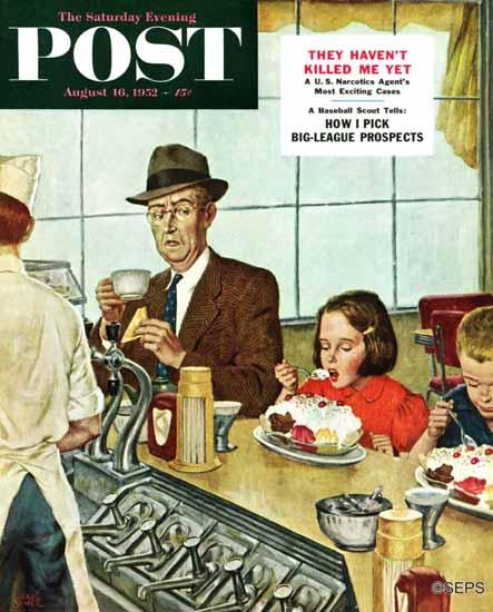 Amos Sewell Saturday Evening Post Banana Split 1952_08_16 | The Saturday Evening Post Graphic Art Covers 1931-1969