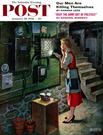 Amos Sewell Saturday Evening Post Blown Fuse 1956_01_28 | The Saturday Evening Post Graphic Art Covers 1931-1969