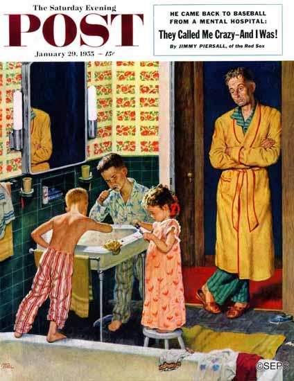 Amos Sewell Saturday Evening Post Brushing Their Teeth 1955_01_29 | The Saturday Evening Post Graphic Art Covers 1931-1969
